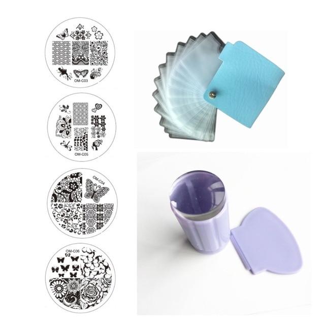 10 штамповки пластины + 24 слотов кожа ногтей шаблон чехол папка + ясно желе силиконовые прозрачный штампа скребок маникюрные инструменты