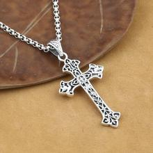 100% 925 Silver Cross Pendant Necklace Vintage Sterling Silver Jesus Cross Pendant Cross Jewelry Pendant Necklace