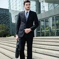 2015 Bonito Na Moda Dos Homens Ternos Blazer Casual Jacket + Pants 2 PCS Do Noivo Desgaste Terno Masculino Desgaste do Negócio para o Meio-idade