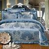 IvaRose 4 6 Pieces Blue Jacquard Silk Cotton Luxury Bedding Set King Size Queen Bed Set