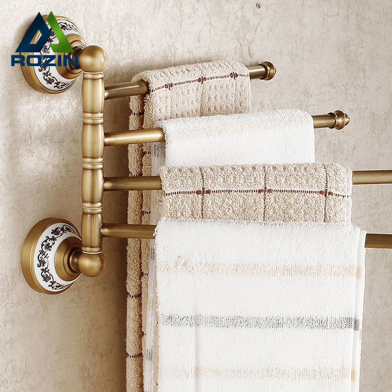 Luxury Bathroom Rotation Bars Towel Holder Wall Mounted Antique Brass Flexible Towel Bar