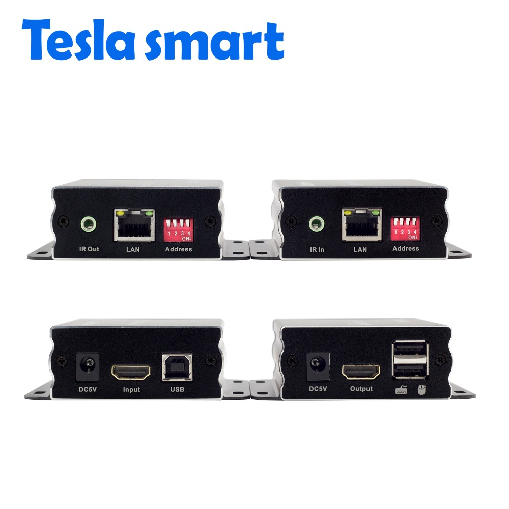 Tesla smart IP Network KVM Extender High Quality 120m USB HDMI IR KVM Extender by CAT5e/6 TCP/IP(1 Extender TX+1 Extender RX)