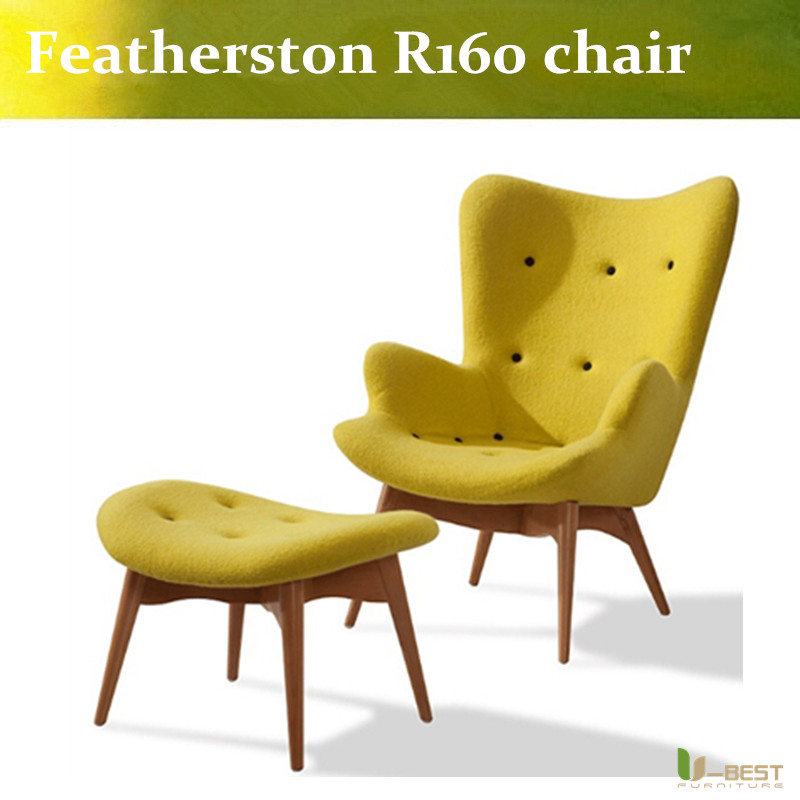 U BEST Retro Vintage Wool Grant Featherston R160 Contour Chair With Ottoman  Replica Yellow(