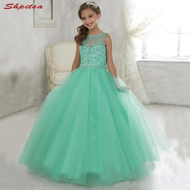 ac2ea6a5666b Mint Green Flower Girl Dresses for Wedding Party First Pageant Communion  Dresses 2018 vestidos primera comunion para ninas
