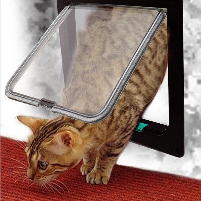 4 vías cerradura perro gato gatito puerta seguridad puerta ABS plástico S/M/L Animal pequeño mascota gato perro puerta suministros para mascotas