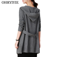 OHRYIYIE Long Hooded Cardigan Sweater Women 2019 Spring Autumn Long Sleeve Knitted Cardigans Lady Outerwear Coat Crochet Sweater
