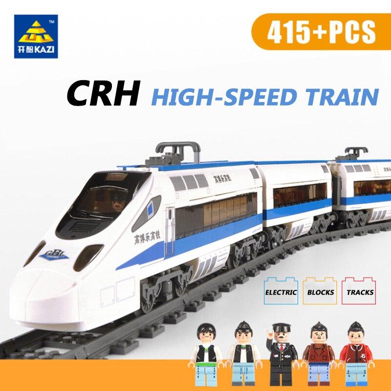 KAZI 98104 Alimenté par batterie Électrique Haute vitesse Train 415 pièces Blocs De Construction Briques Compatibles LegoINGlys Train Jouets Classiques