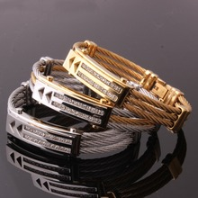 12mm Fashion Jewlry Stainless Steel Silver Color Or Gold Color Cable Wire Chain Mens Bracelet Cuff Bangle New CZ mens love knot bangle stainless steel antique silver color knot twisted cuff bracelet unisex men jewelry pulseira braslet