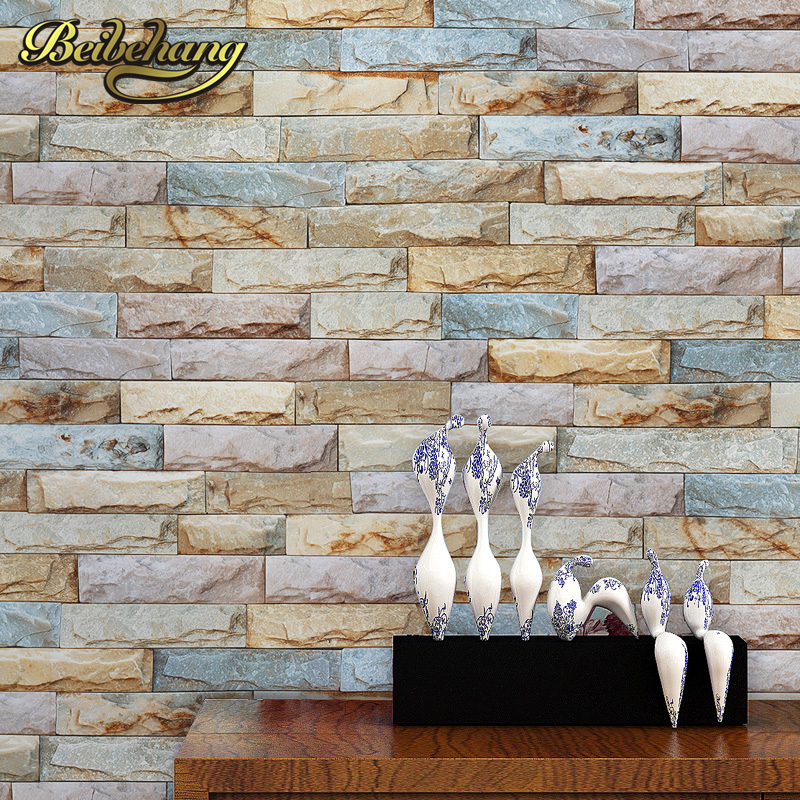 Exquisite Wall Coverings From China: Beibehang 3D Stone Brick Chinese Style Wall Paper