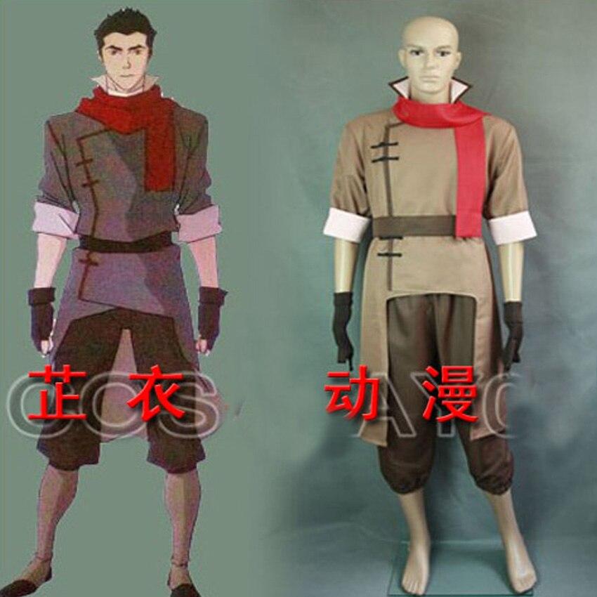 The Legend of Korra Cosplay Costume Avatar Mako Brown Coat Pants Belt Red Scarf Gloves custom any size