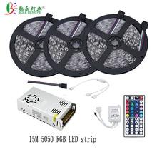 5M 10M 15M 20M 30leds/m IP20 5050 LED strip Diode tape + 44 key IR Remote Controller + Power Supply dc 12V 2A 5A 8A Full Set все цены