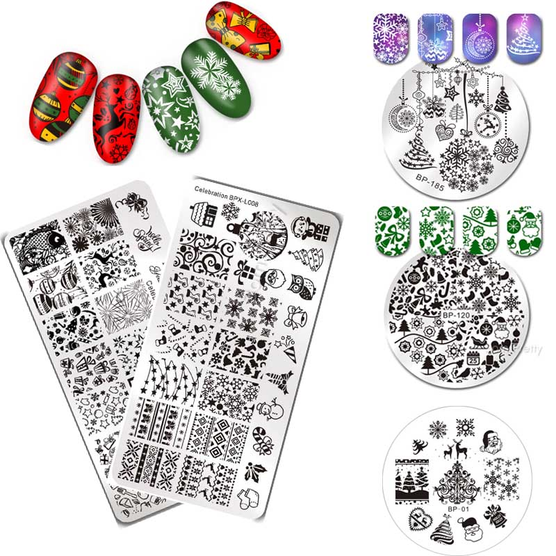 BORN PRETTY Rectangle Round Nail Stamping Template Xmas