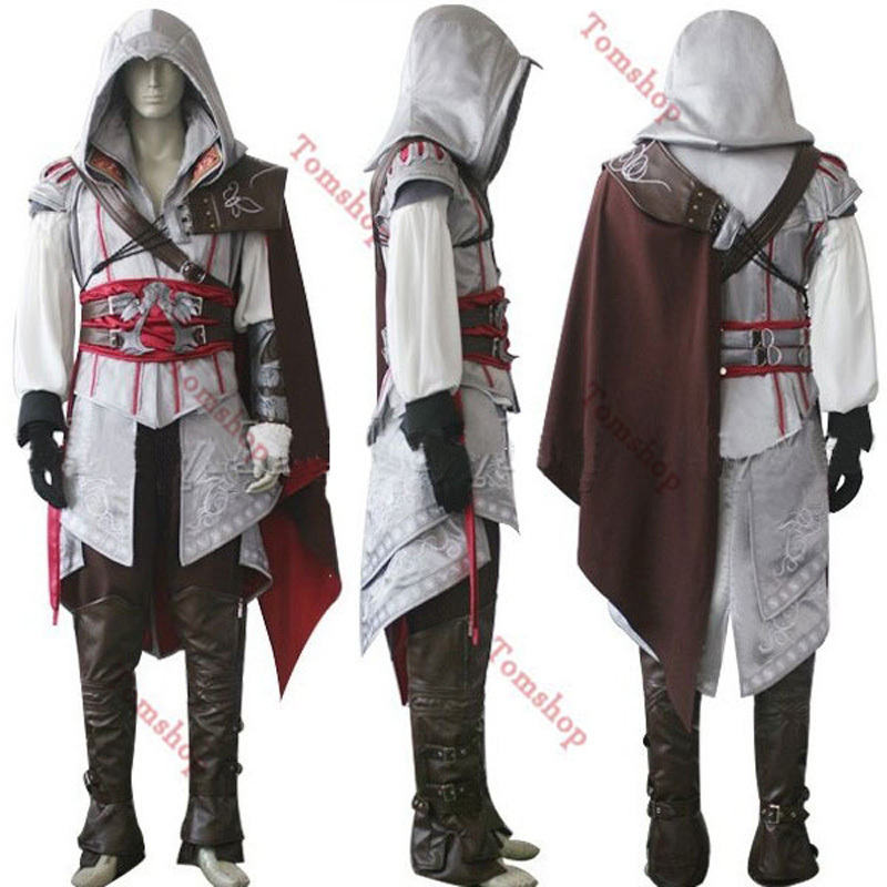 Assassin's Creed II 2 Ezio White Edition Cosplay Uniform Suit Halloween Men Costumes Expedited shipping