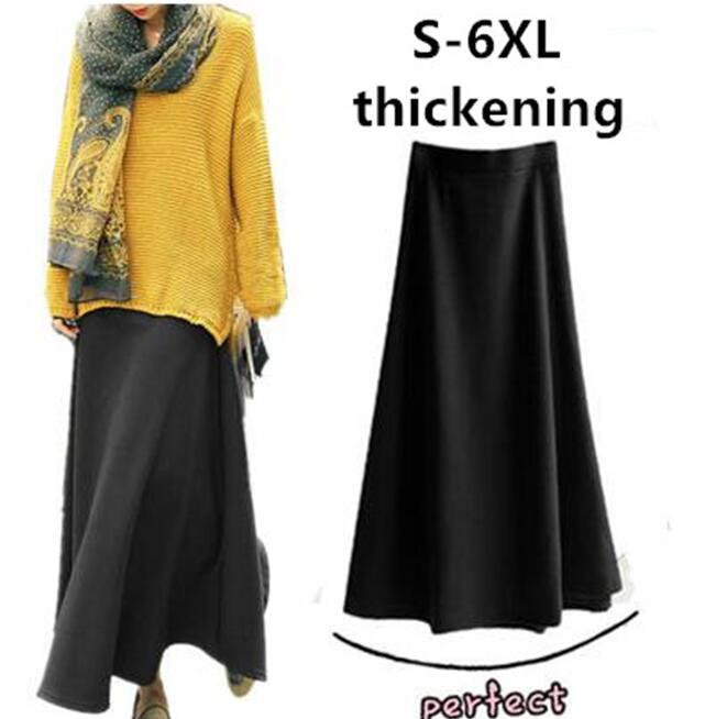 Womens 2019 Autumn Winter Women Long Skirt Elastic High Waist Thickening And Warming Maxi Skirts,plus Size Skirt S -5XL 6XL