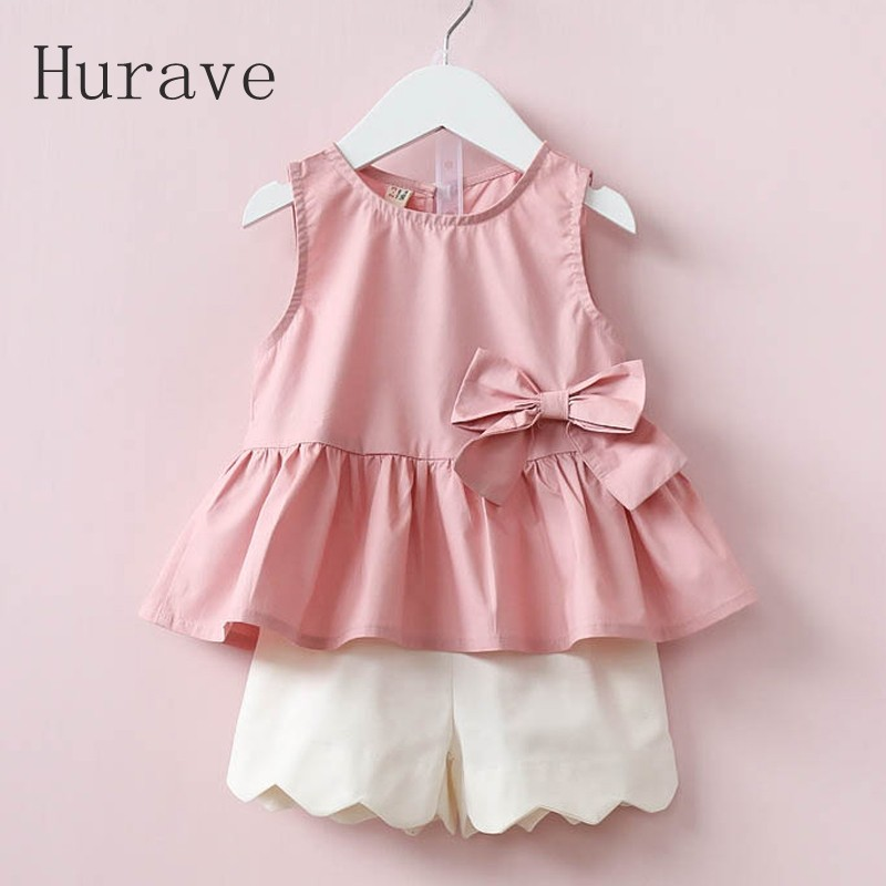 Hurave 2017 Summer Cute Style Girls Sets Children Summer Clothing Sets Kids Clothes Bow T-Shirt + Short 2Pcs Summer Casual Suit 2016 korean style cute girl printed sets children s clothes short t shirts pants 2pcs girls clothing retial 0 4t kids coat