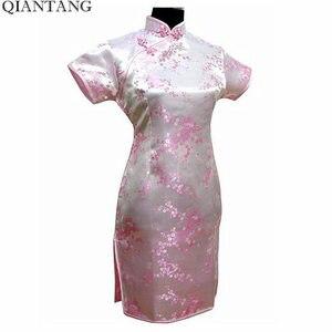Image 3 - שחור סינית מסורתית שמלת Mujer Vestido נשים של סאטן Qipao מיני Cheongsam פרח גודל S M L XL XXL XXXL 4XL 5XL 6XL J4039