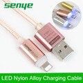 Senye Rose LED Inteligente de Datos USB cable de Iluminación de Metal de Nylon Trenzado línea de transmisión de alta velocidad de carga Rápida para el iphone 5 6 S SÍ