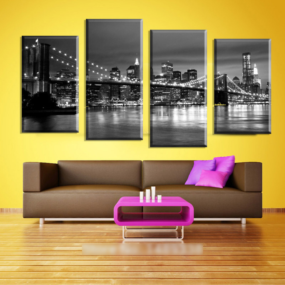 Original Oil Ink 4 Panels Canvas New York Bridge and Bay Painting On ...