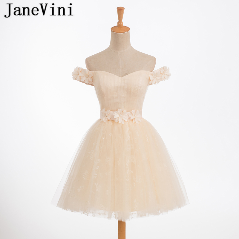 JaneVini Charming Champagne Tulle Short   Bridesmaid     Dresses   Off the Shoulder Hand Made Flowers Girls Homecoming   Dress   Plus Size