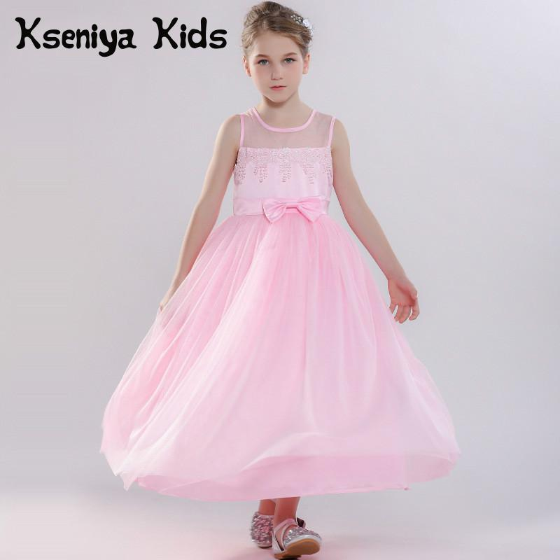 Kseniya Kids Girls Princess Dresses Long Hollow Patchwork Girls Ball Gown Evening Dresses Pink Girl Dress For Party And Wedding цена
