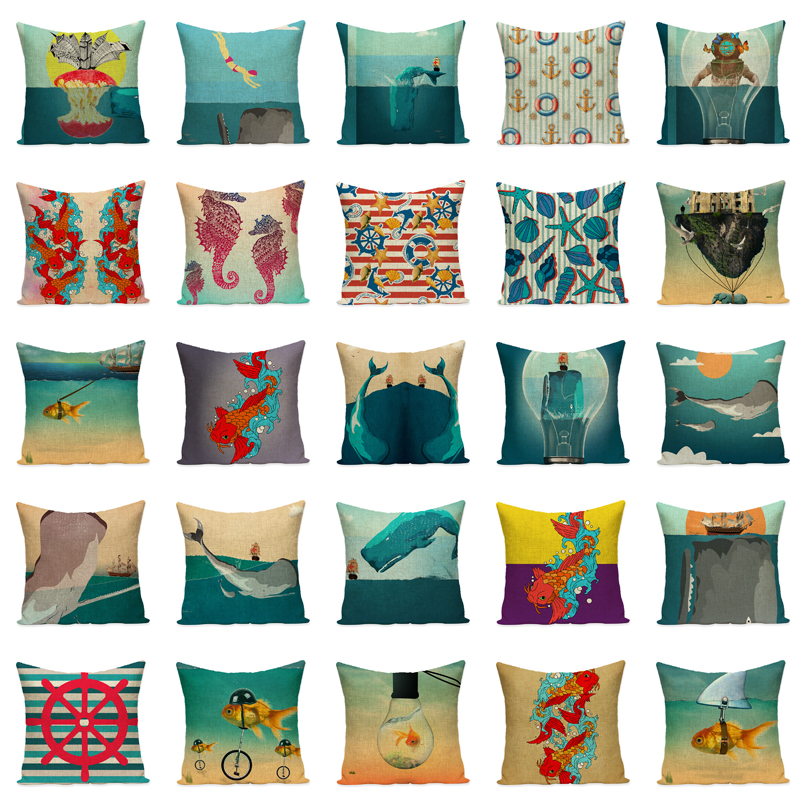 Your Own Picture Seaside Cartoon Dolphin Seahorse Sofa Throw Pillow Extraordinary Decorate Your Own Pillow