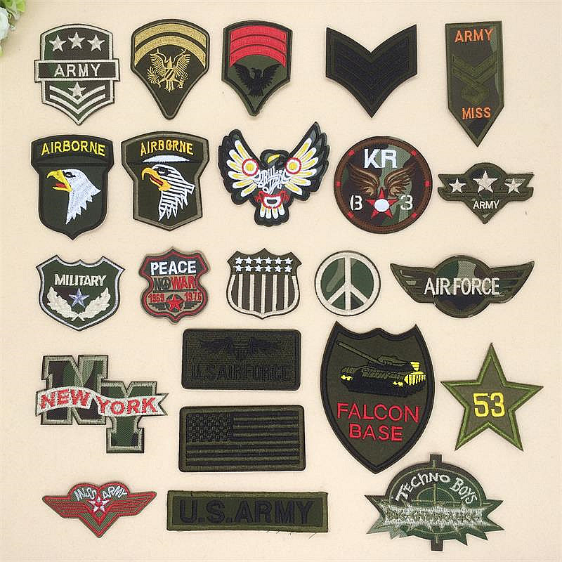 Free shipping new arrival mixed 23 pcs 23 styles army emblem Embroidered patch TS Motif Applique DIY embroidery patch accessory emblem