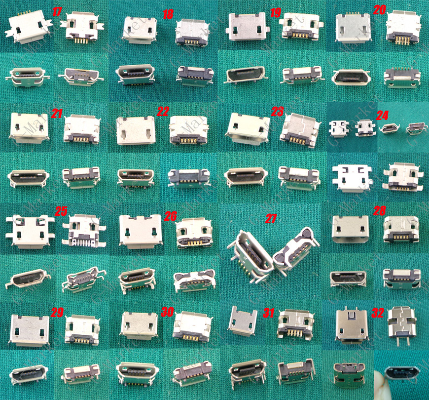 Cable Length: 98pcs 49models ShineBear 49models Micro USB Jack Connector 5Pin Mini USB Connector for Samsung for HTC for Lenovo for ZTE.Mobile Phone Tablet pc mid