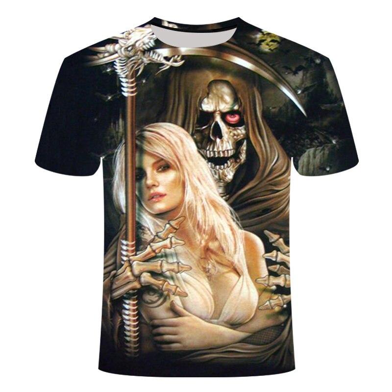Drop Ship2019Skull Print Men Short Sleeve 3D T Shirt Casual Breathable 3d Skull Funny 6XL Top European Brand Tshirt Summer Style
