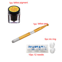 Tattoo Kits  Microblading Permanent 3D Makeup Eyebrow Tattoo Needle ink Pen Pigment Kit Training g61109