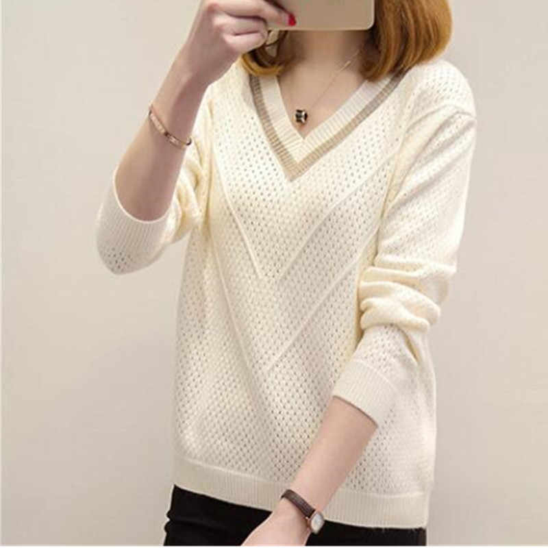 Autumn winter women pullovers sweater knitted elasticity Casual Women vogue V-neck Long sleeve warm women Short sweaters G918