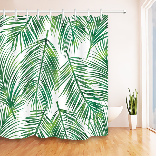 Tropical Big Green Palm Leaves Shower Curtain Waterproof Polyester Fabric Bath For Bathroom Decor With
