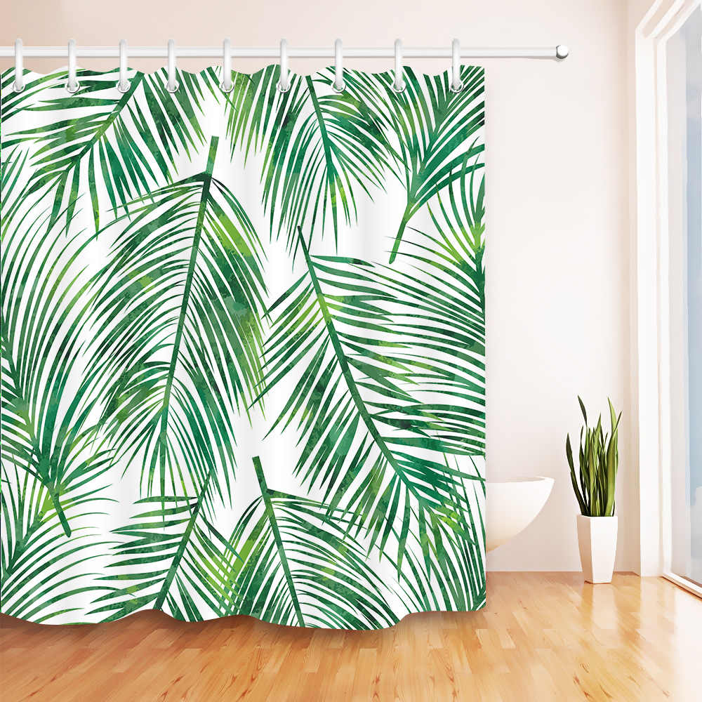 tropical big green palm leaves shower curtain waterproof polyester fabric bath curtain for bathroom decor with plastic hooks set