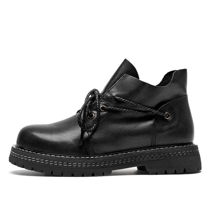 DRKANOL/сезон осень-зима; Ботинки martin ручной работы из натуральной кожи; женские ботильоны; теплые мотоботы на толстом каблуке; женская обувь