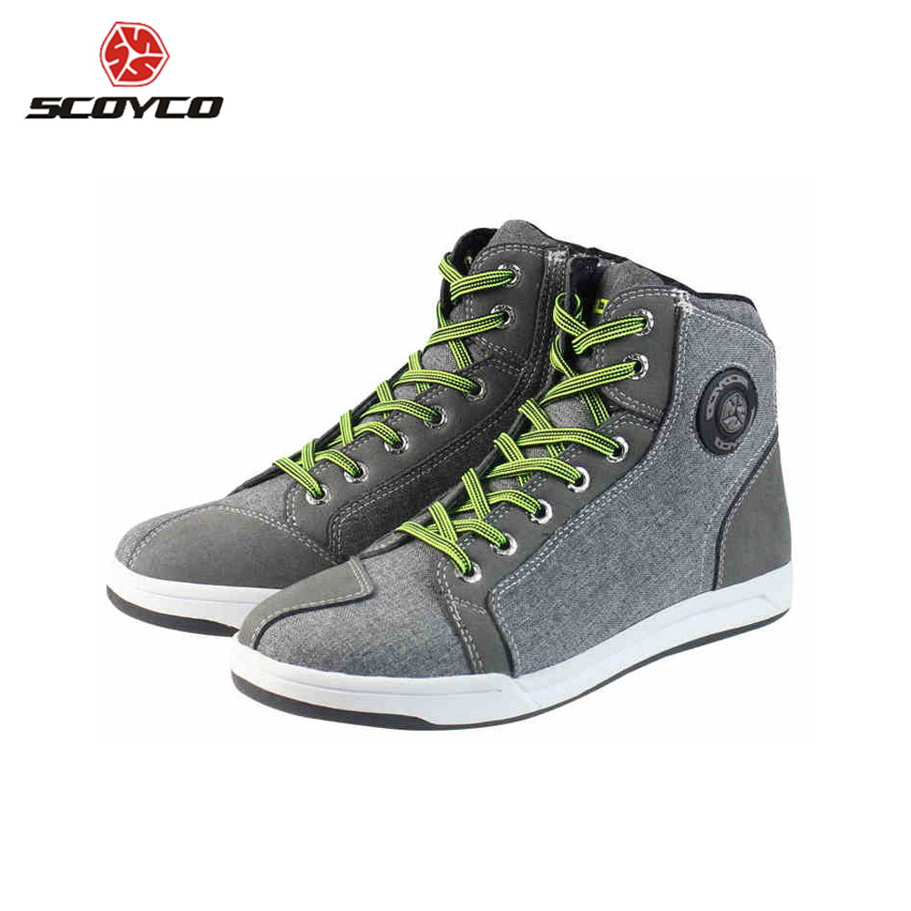 SCOYCO Motorcycle Boots Men Road Street Casual Shoes Bato Motocross Boots Breathable Moto Protective Gear Flax Microfiber MT 016 scoyco mbt002 motorcycle bicycle men s leather short boots black size 44