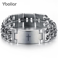 Fashion Stainless Steel 22.5mm Width Bracelets & Bangles Men Male Jewelry Cross/Smooth Punk Chain Wristband