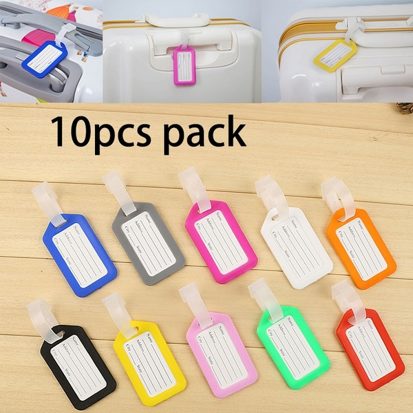 10Pcs/lot Ramdom Color ABS Plastic Travel Luggage Tags With Transparent Straps