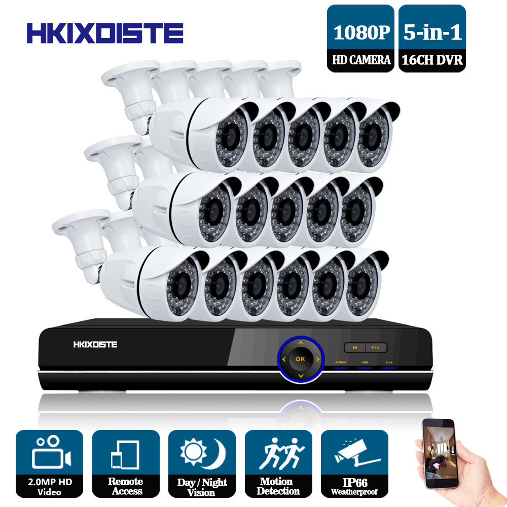 1080P AHD Camera 16CH System Kit CCTV 16 Channel AHD DVR Recorder+IR Outdoor Bullet 2MP AHD Camera System Waterproof nightvision 2017 newest security ahd 1080p 2 0mp waterproof ir metal cctv bullet camera system cheap product