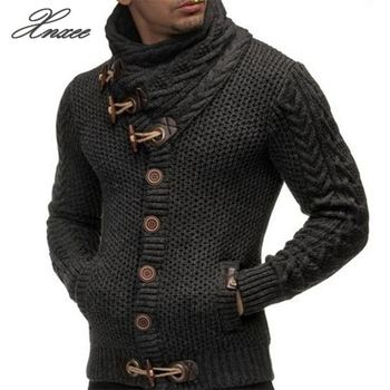 Cardigan Sweater Coat Men 2020 Autumn Fashion Solid Sweaters Casual Warm Knitting Jumper Sweater Male Coats Plus Size fat mm sweater 2017 autumn winter the new fashion loose cardigan hooded thick knitting casual ms sweater coat m 5xl plus size a