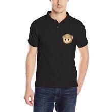 DUTRODU Iphone8 Expression Animation Men's Fashion Short Cotton Casual Monkey Print Polo Shirt Men