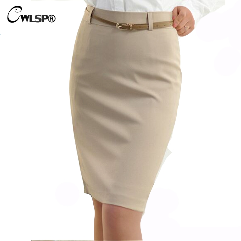 CWLSP 2019 Summer High Waisted Skirt Womens OL Formal Work Wear Ladies Midi Skinny Pencil Skirts With Belt Plus Size S-3XL