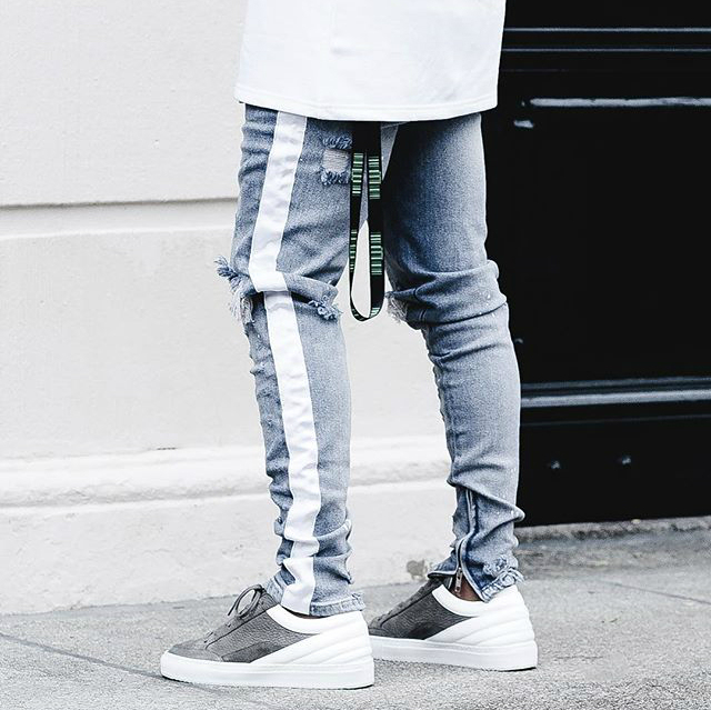 Beige Tape Stripe Ripped Biker Jeans Kanye West Zipped Ankles Low Waist Skinny Jeans Free Shipping