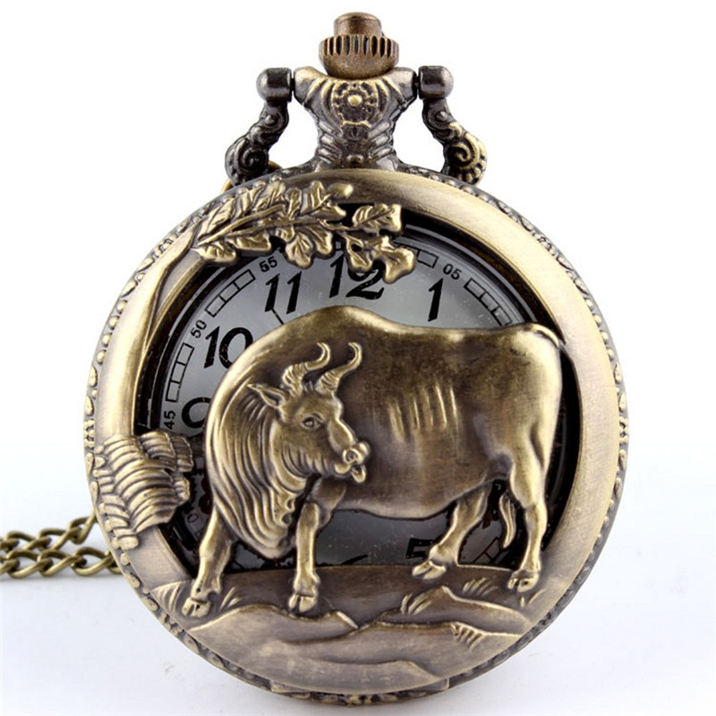 Hot Dropshipping Bronze Cow OX Hollow Quartz Pocket Watch Necklace Pendant  Chinese Zodiac 12 Carving Back Womens Men GIft P251