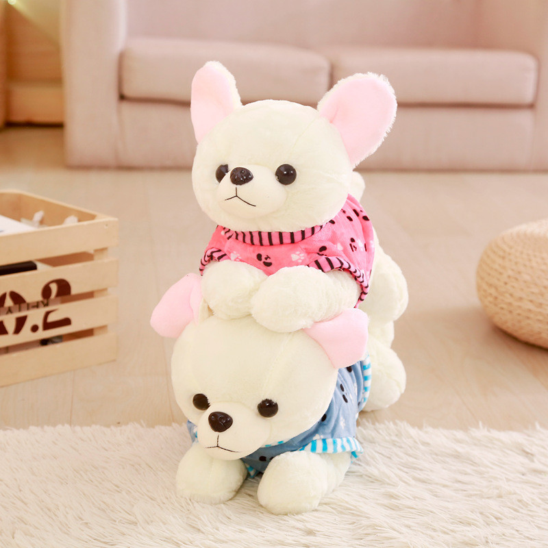 1pc 40cm Cute Lying Dog With Clothes Stuffed Soft Kawaii