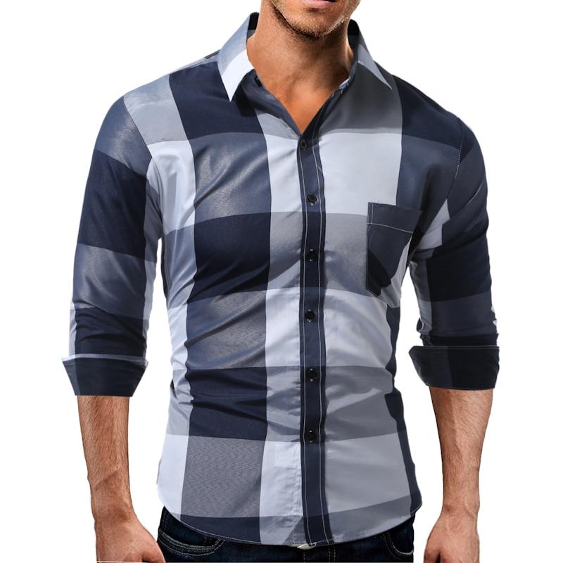 2019 Yaz Yeni Moda Rahat Uzun Kollu Erkek Ekose Gömlek Patchwork - Erkek Giyim - Fotoğraf 4