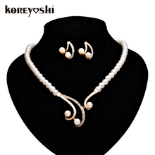 African beads jewelry set Simulated-pearl Rhinestone Wedding jewelry sets Luxury fine jewelry Neckalce Earring sets bijoux femme