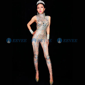 2019 Women's Sexy Rhinestones Bodysuit Stage Outfit Female Singer Nude Leggings Nightclub Costume Dance Jumpsuit