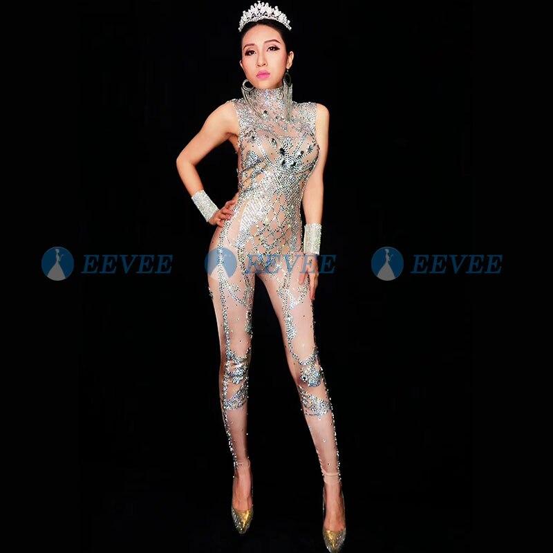 2019 femmes Sexy strass body scène tenue femme chanteuse nue Leggings discothèque Costume danse combinaison