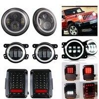 Белый Halo 7 дюймовый LED Фары для автомобиля + 4 ''туман свет + хвост лампа для Jeep JK Wrangler