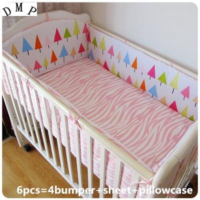 6PCS Baby Cot Nursery Bedding Kit Baby Bedding Bed Set Kit Berço  (4bumpers+sheet+pillow Cover)