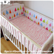 Promotion! 6PCS Baby cot nursery bedding kit baby bedding bed set (bumpers+sheet+pillow cover)